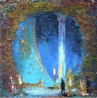 "Эскиз декорации к опере ""Леопард из Согдианы"", 70х51, левкас акрил, 2005г."