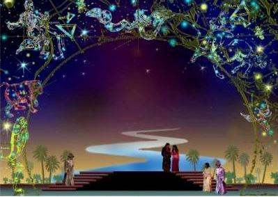 """Эскиз декорации к опере """"Небо моей любви"""""""